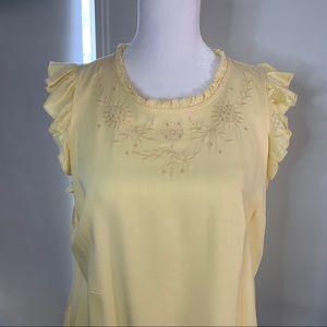 Lauren Conrad yellow sleeveless embroidered top